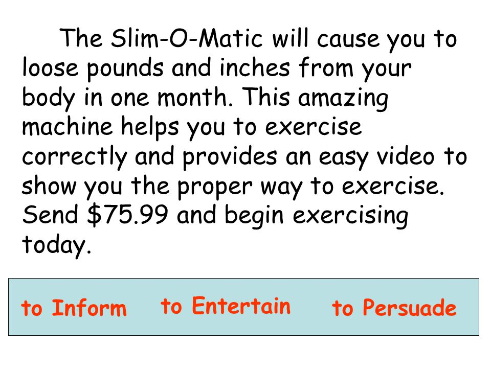 The Slim-O-Matic will cause you to loose pounds and inches from your body in one month. This amazing machine helps you to exercise correctly and provi