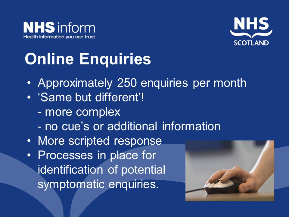 Online Enquiries Approximately 250 enquiries per month 'Same but different'.