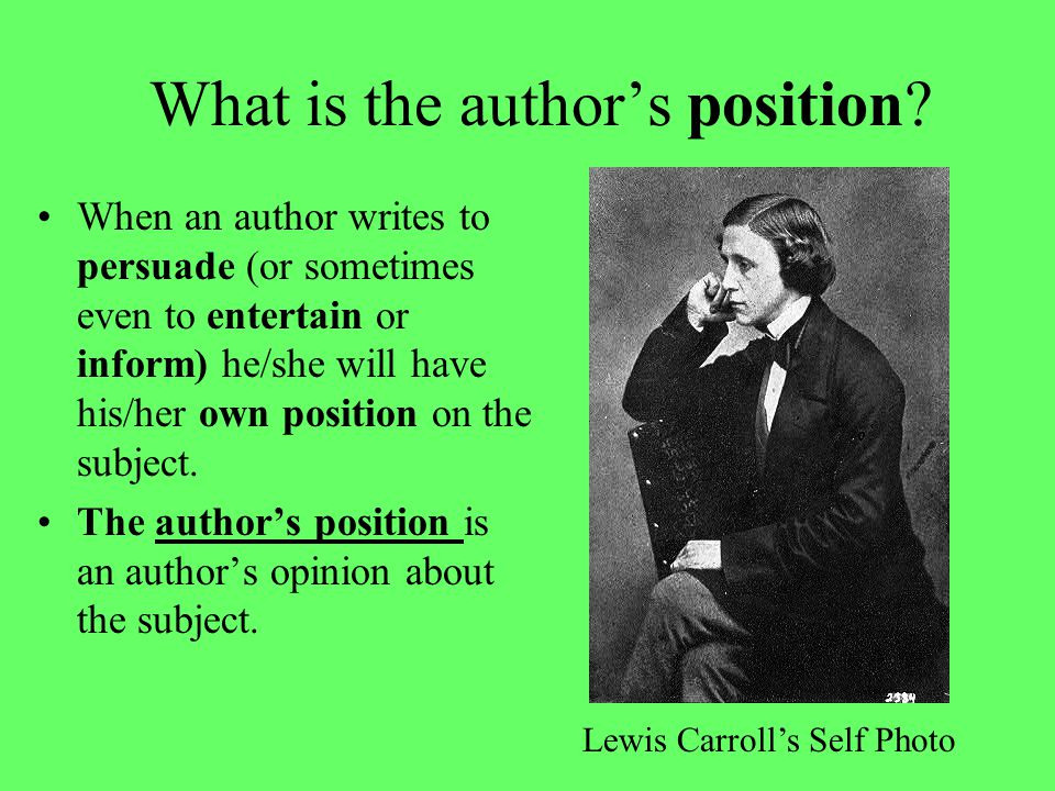 What is the author's position.