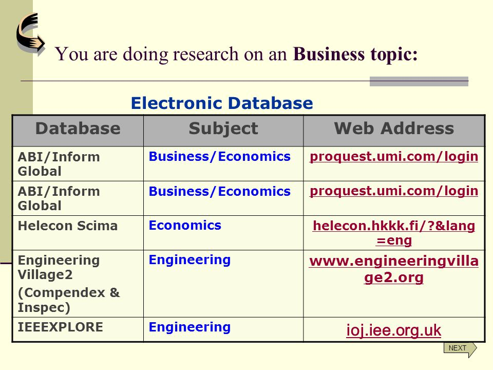 You are doing research on an Business topic: NEXT Electronic Database DatabaseSubjectWeb Address ABI/Inform Global Business/Economicsproquest.umi.com/login ABI/Inform Global Business/Economicsproquest.umi.com/login Helecon ScimaEconomicshelecon.hkkk.fi/?&lang =eng Engineering Village2 (Compendex & Inspec) Engineering www.engineeringvilla ge2.org IEEEXPLOREEngineering ioj.iee.org.uk