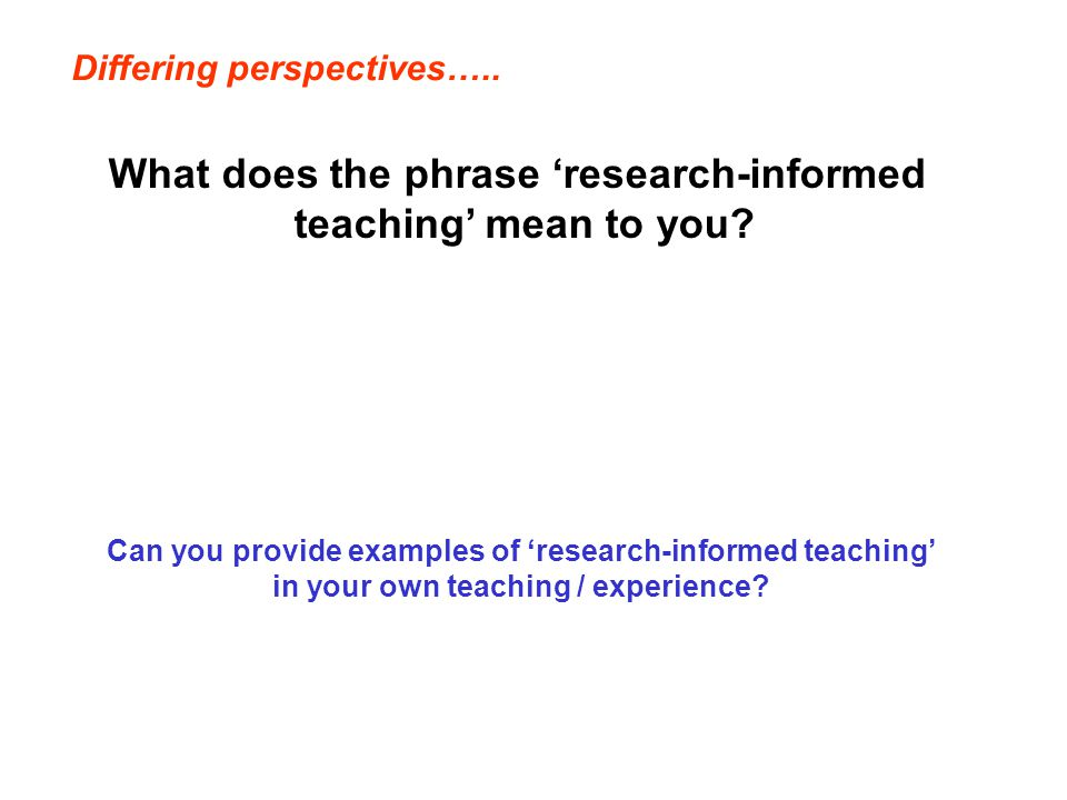 What does the phrase 'research-informed teaching' mean to you.