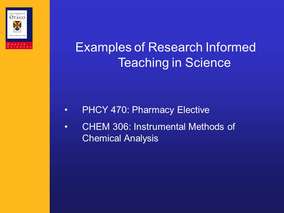 Examples of Research Informed Teaching in Science PHCY 470: Pharmacy Elective CHEM 306: Instrumental Methods of Chemical Analysis