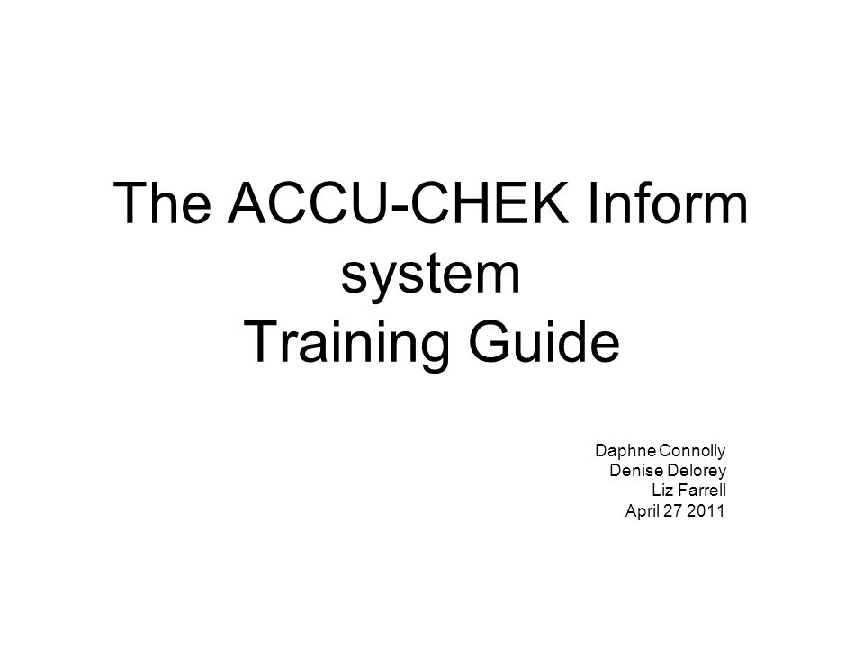 The ACCU-CHEK Inform system comprises three unique components: accessory box meter Base Unit Connector Electrical connection to base unit for charging battery and for data exchange.