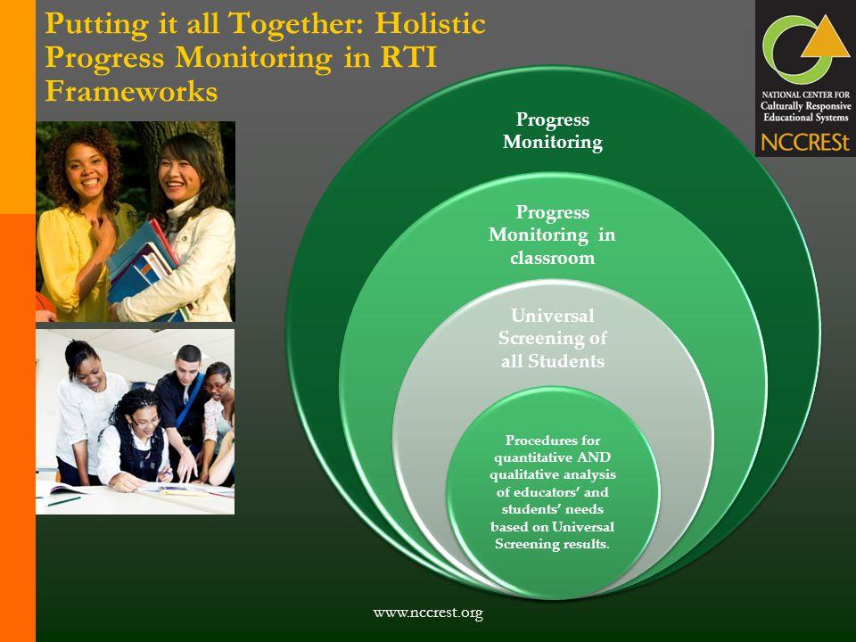 Progress Monitoring Progress Monitoring in classroom Universal Screening of all Students Procedures for quantitative AND qualitative analysis of educa