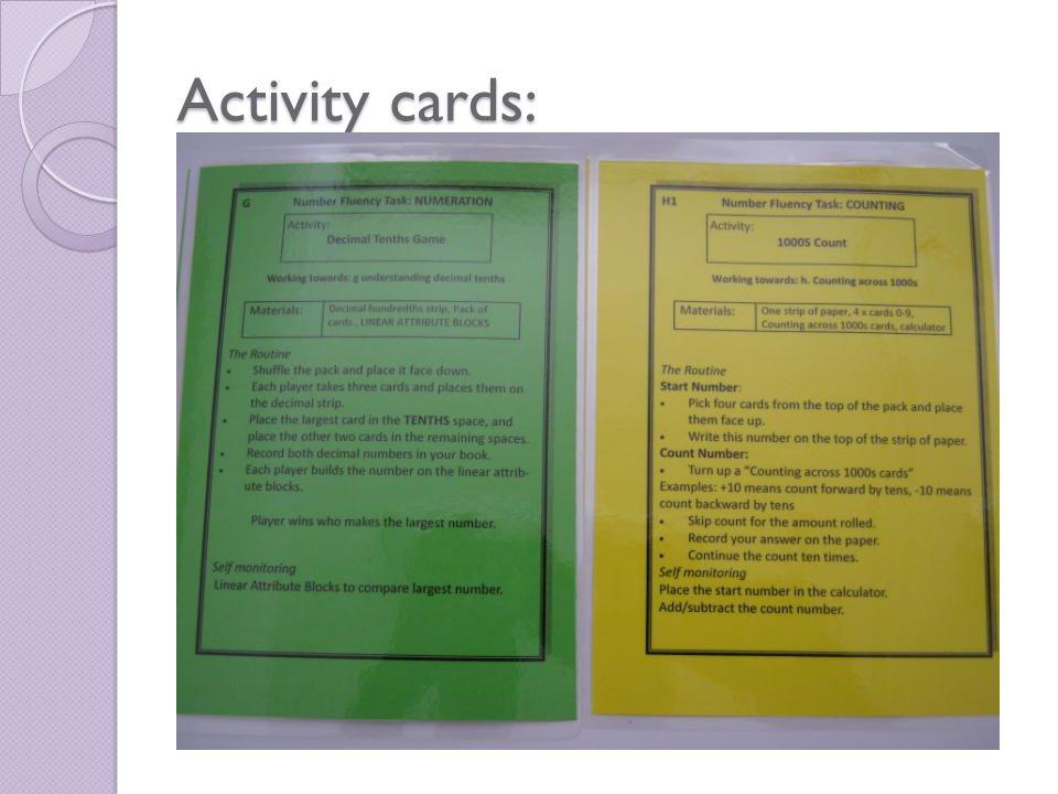 Activity cards: