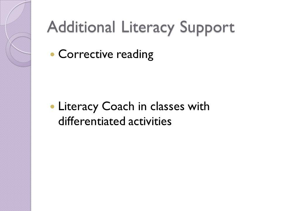 Additional Literacy Support Corrective reading Literacy Coach in classes with differentiated activities