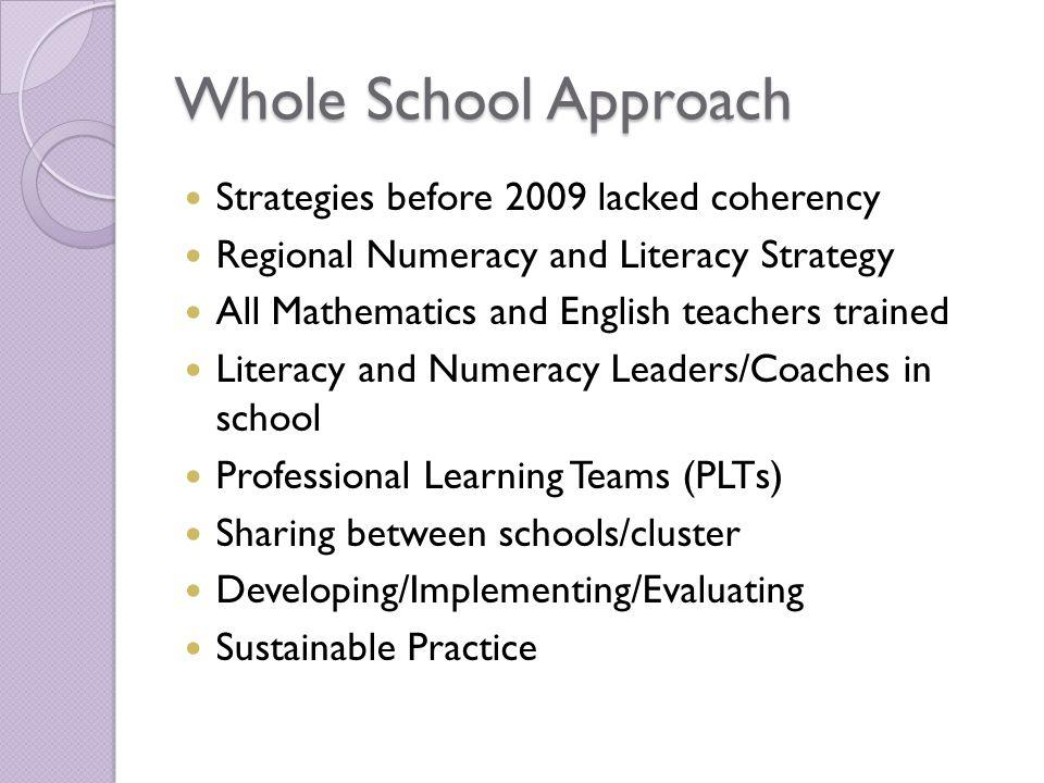 Whole School Approach Strategies before 2009 lacked coherency Regional Numeracy and Literacy Strategy All Mathematics and English teachers trained Literacy and Numeracy Leaders/Coaches in school Professional Learning Teams (PLTs) Sharing between schools/cluster Developing/Implementing/Evaluating Sustainable Practice