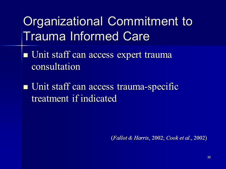32 Organizational Commitment to Trauma Informed Care Unit staff can access expert trauma consultation Unit staff can access expert trauma consultation