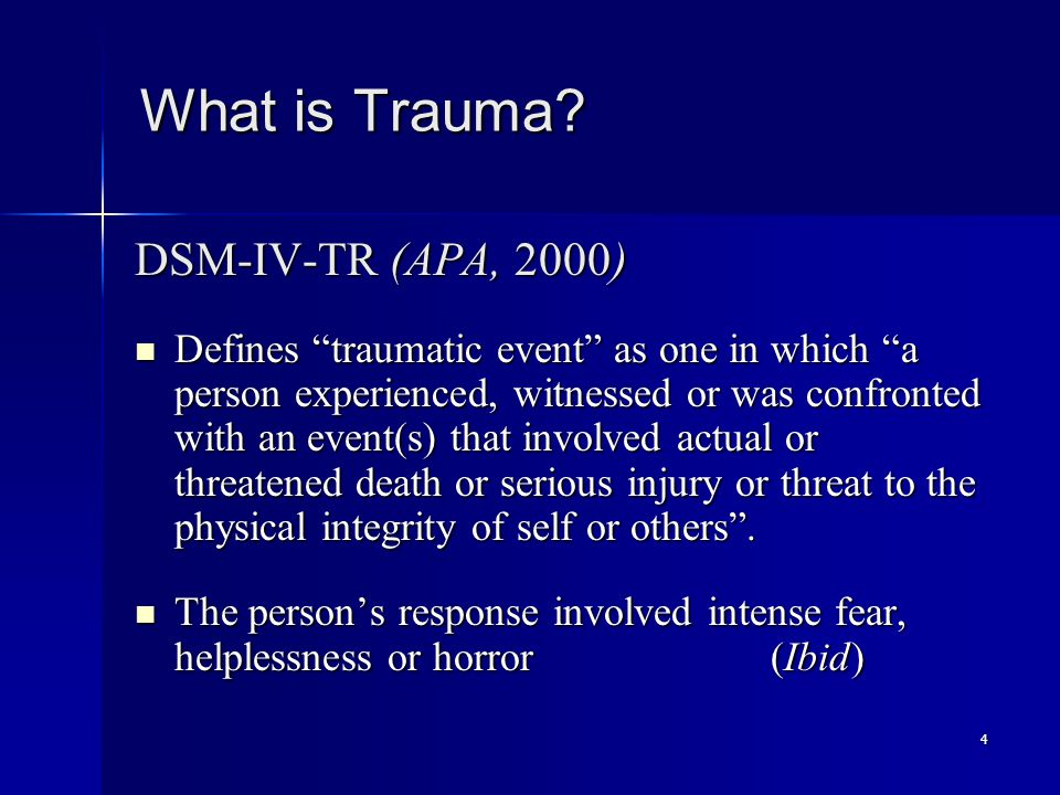 35 Trauma Assessment Purpose Purpose –Used to identify past or current trauma, violence, abuse, and assess related sequelae –Provides context for current symptoms and guides clinical approaches and recovery progress –Informs the treatment culture to minimize potential for re-traumatization (Cook et al., 2002; Fallot & Harris, 2002; Maine BDS, 2000)