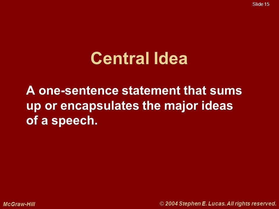 Slide 15 McGraw-Hill © 2004 Stephen E. Lucas. All rights reserved.