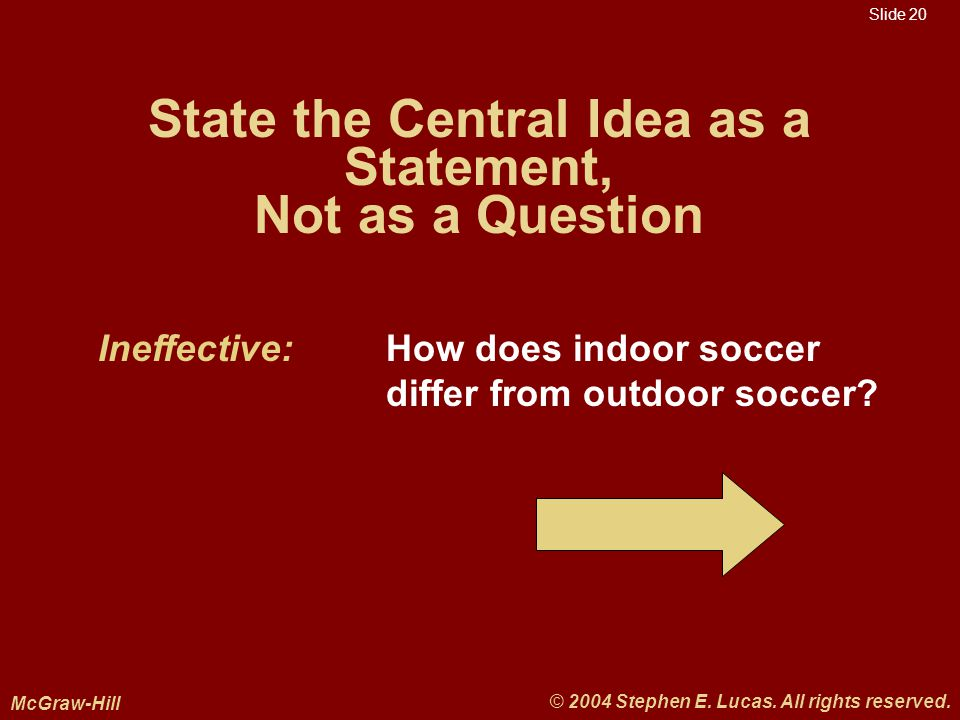 Slide 20 McGraw-Hill © 2004 Stephen E. Lucas. All rights reserved.