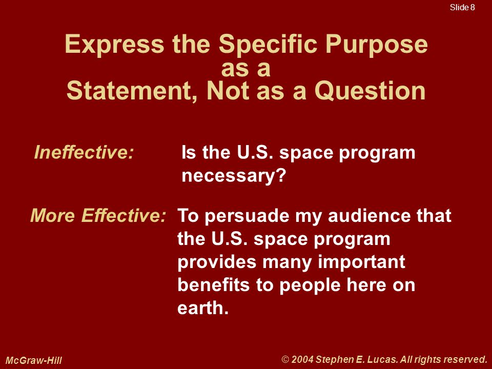 Slide 8 McGraw-Hill © 2004 Stephen E. Lucas. All rights reserved.