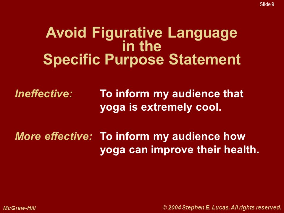 Slide 9 McGraw-Hill © 2004 Stephen E. Lucas. All rights reserved.