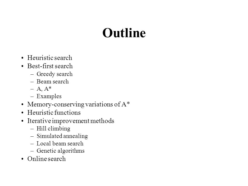 Outline Heuristic search Best-first search –Greedy search –Beam search –A, A* –Examples Memory-conserving variations of A* Heuristic functions Iterati