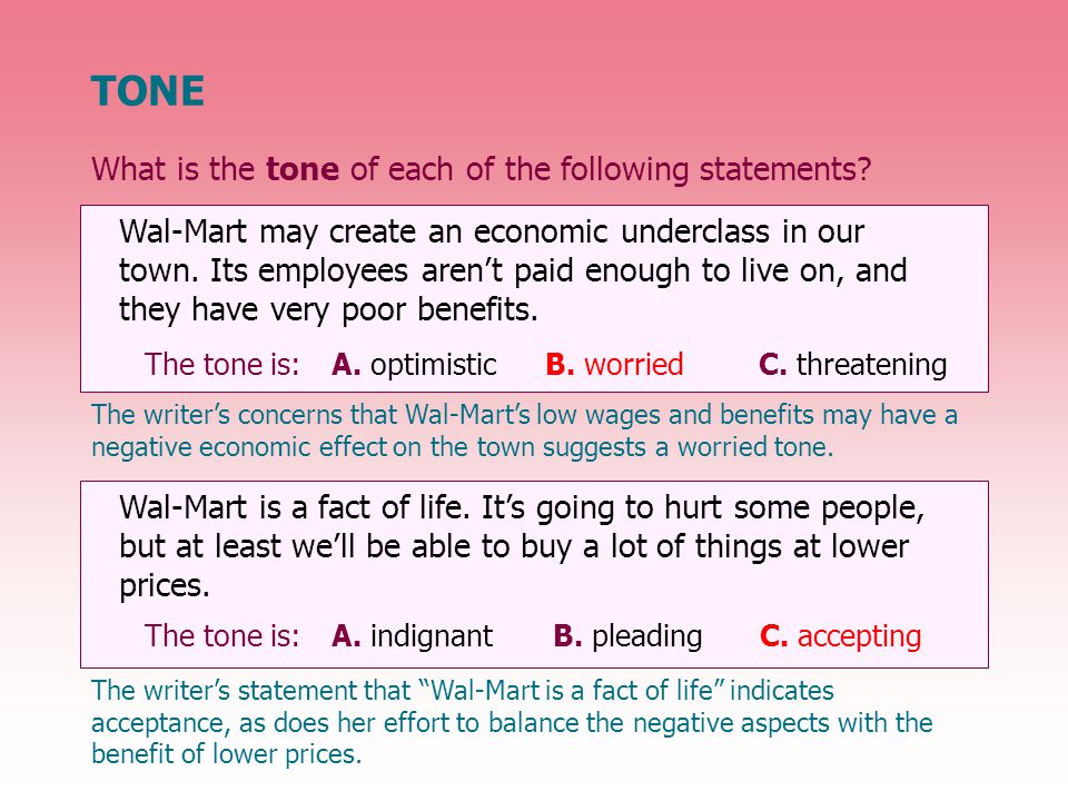 What is the tone of each of the following statements.