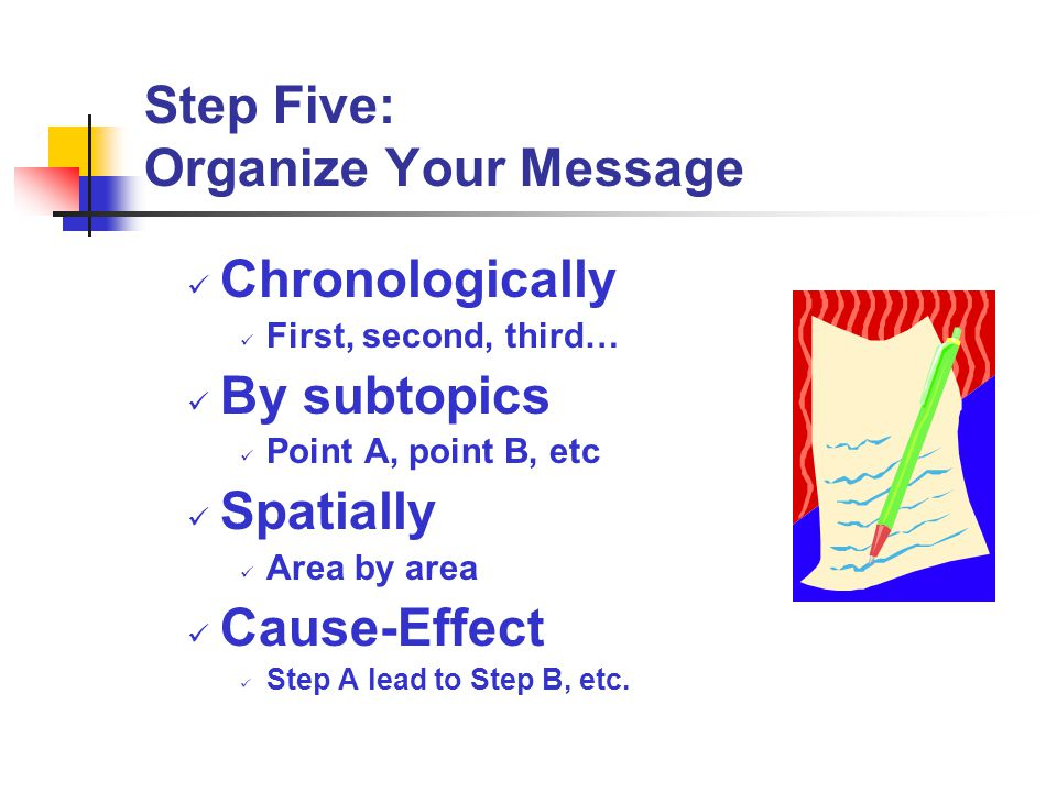 Step Five: Organize Your Message Chronologically First, second, third… By subtopics Point A, point B, etc Spatially Area by area Cause-Effect Step A l