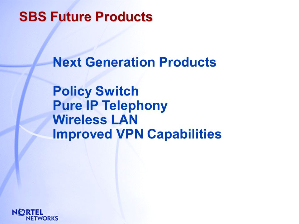 Nortel Networks Solution : SUMMARY No Continuity Between Locations Different Apps & User Interfaces LAN Congestion Slow Performance Slow Connection Be