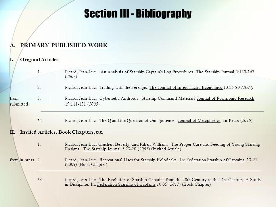 Section III - Bibliography A.PRIMARY PUBLISHED WORK I.Original Articles 1.Picard, Jean-Luc.