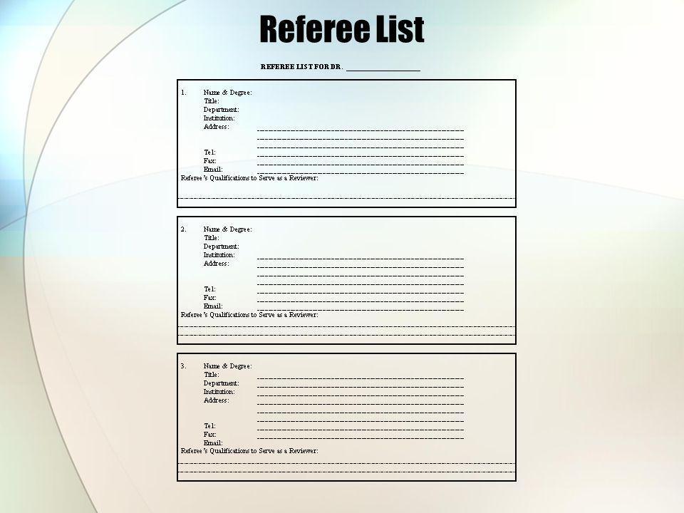 Referee List