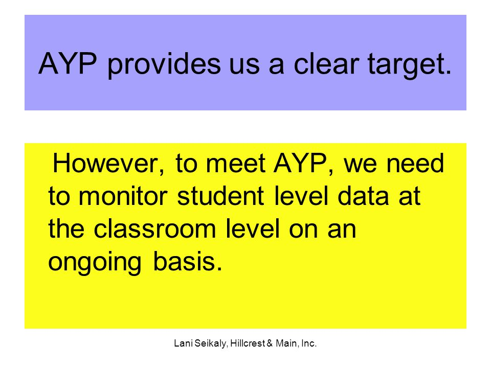 Lani Seikaly, Hillcrest & Main, Inc. AYP provides us a clear target.
