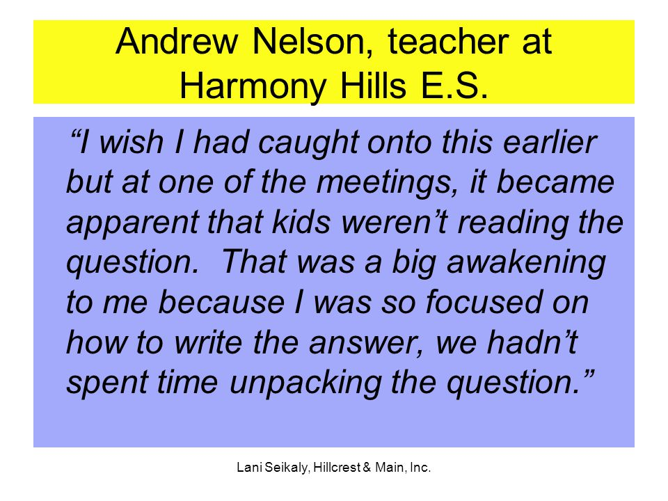 Lani Seikaly, Hillcrest & Main, Inc. Andrew Nelson, teacher at Harmony Hills E.S.