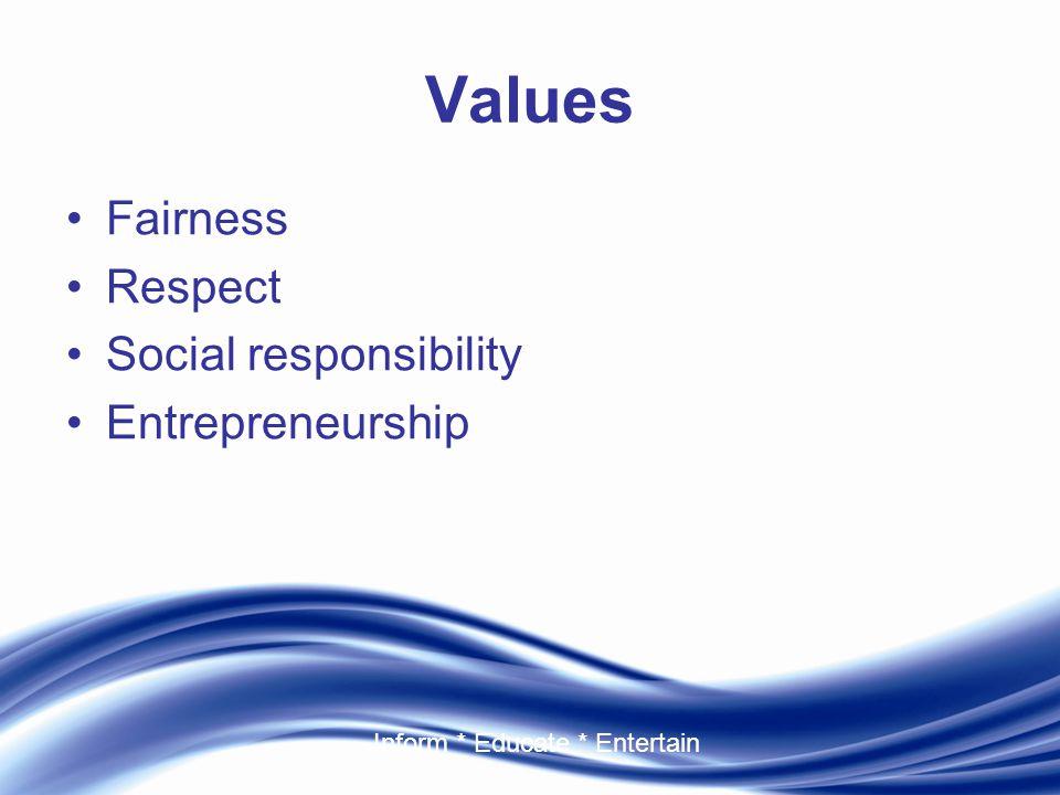 Inform * Educate * Entertain Values Fairness Respect Social responsibility Entrepreneurship