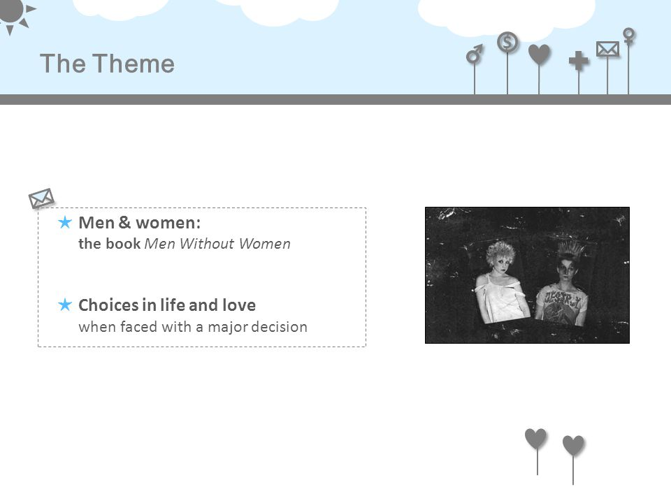 $ $ The Theme ★ Men & women: the book Men Without Women ★ Choices in life and love when faced with a major decision