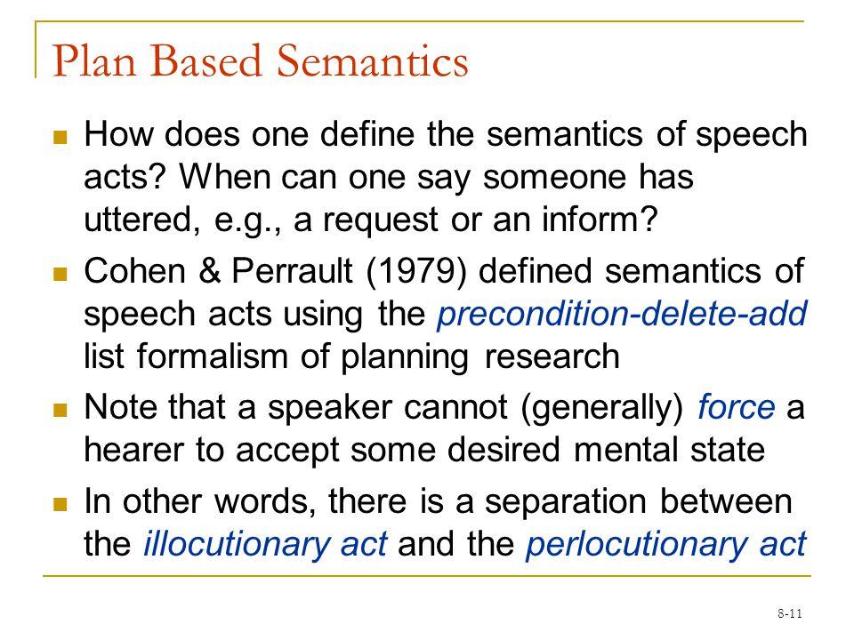 8-11 Plan Based Semantics How does one define the semantics of speech acts.