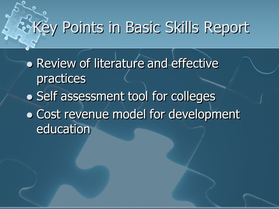 Key Points in Basic Skills Report Review of literature and effective practices Self assessment tool for colleges Cost revenue model for development education Review of literature and effective practices Self assessment tool for colleges Cost revenue model for development education