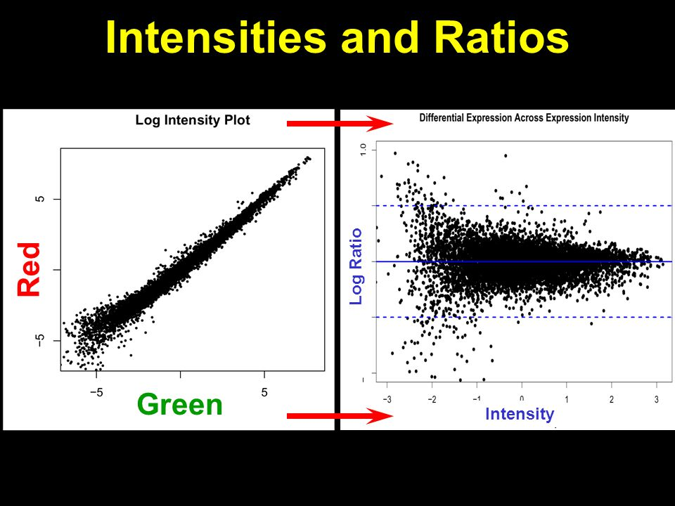Intensities and Ratios Green Red Intensity Log Ratio