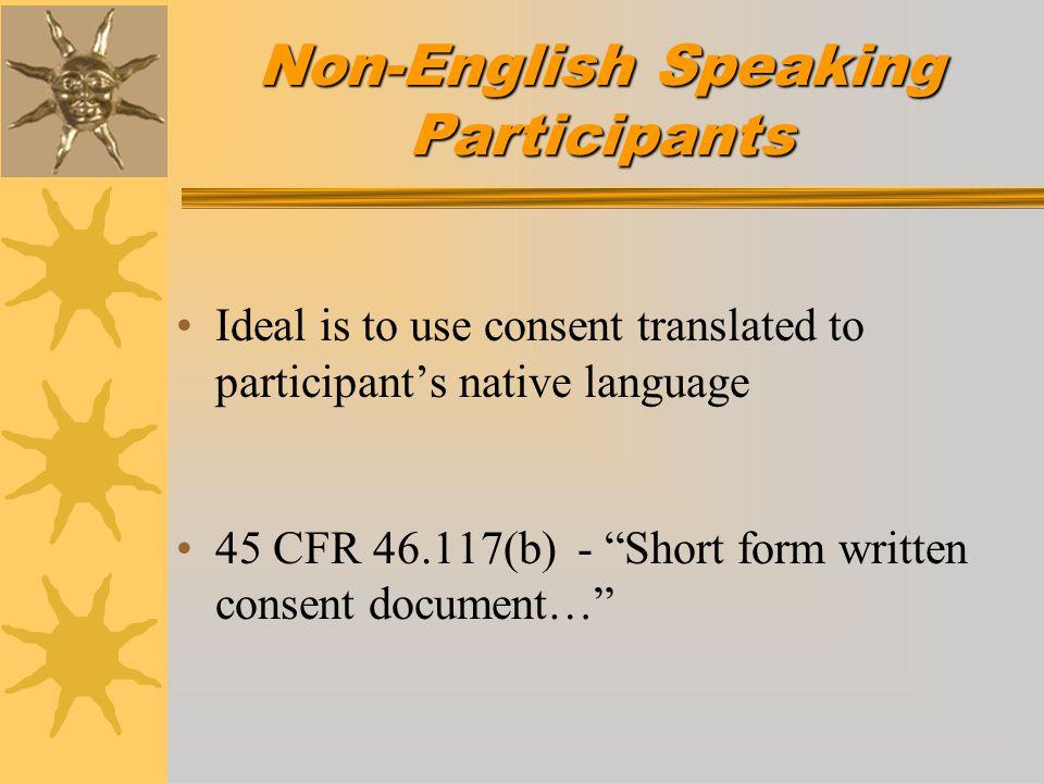 Non-English Speaking Participants