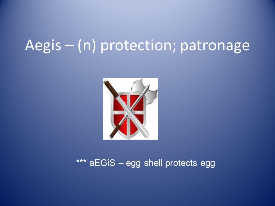 Aegis – (n) protection; patronage *** aEGiS – egg shell protects egg