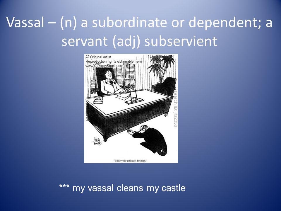 Vassal – (n) a subordinate or dependent; a servant (adj) subservient *** my vassal cleans my castle