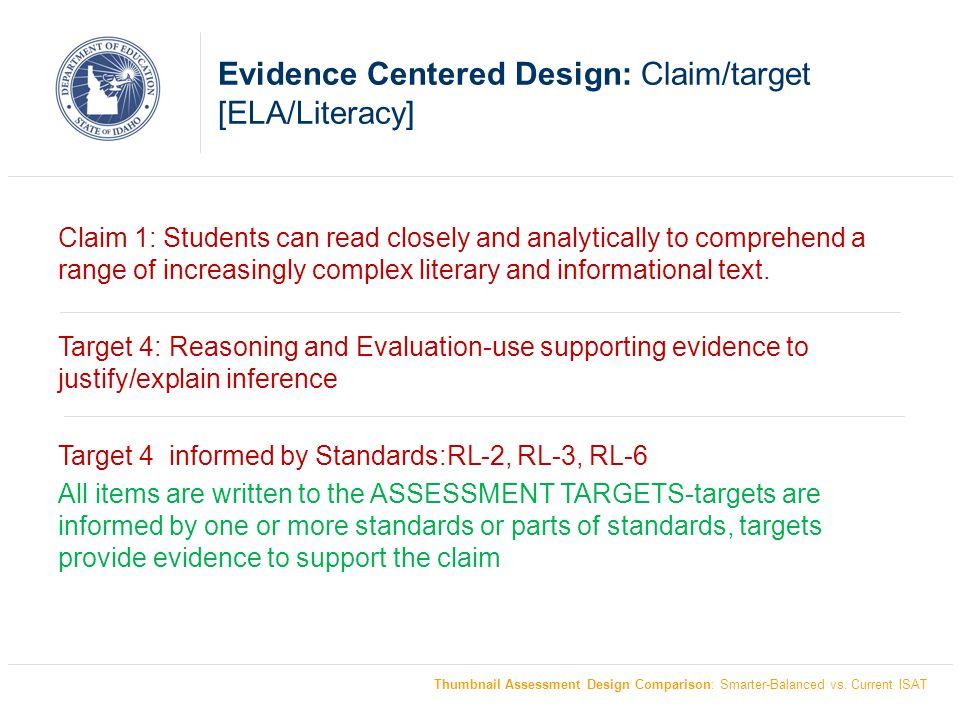 Test Design Contrast: Current ISAT Design [Mathematics] Thumbnail Assessment Design Comparison: Smarter-Balanced vs.