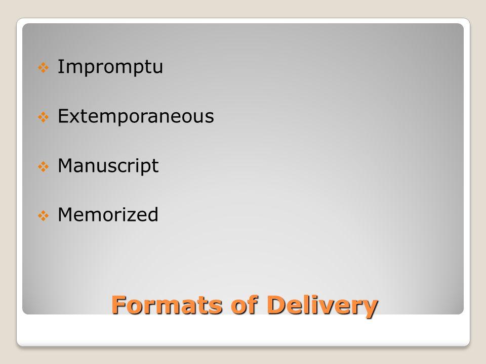 Formats of Delivery  Impromptu  Extemporaneous  Manuscript  Memorized