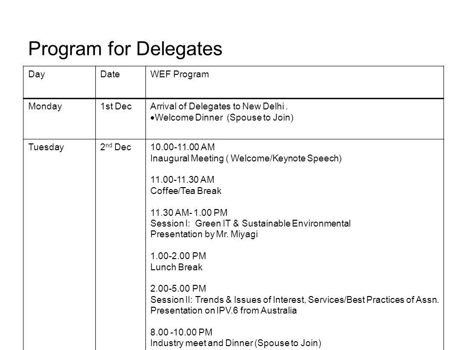 Program for Delegates DayDateWEF Program Monday1st DecArrival of Delegates to New Delhi.
