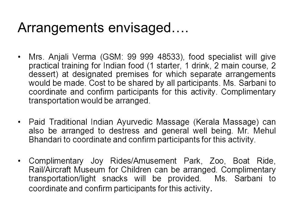 Arrangements envisaged…. Mrs. Anjali Verma (GSM: 99 999 48533), food specialist will give practical training for Indian food (1 starter, 1 drink, 2 ma