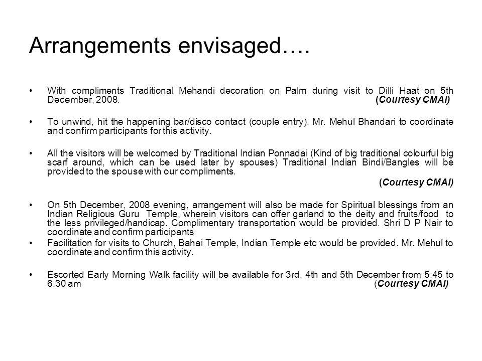 Arrangements envisaged….