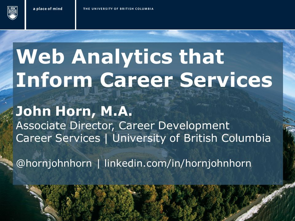 Web Analytics that Inform Career Services John Horn, M.A.