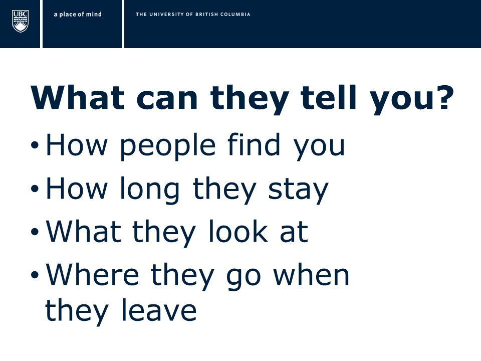 What can they tell you? How people find you How long they stay What they look at Where they go when they leave
