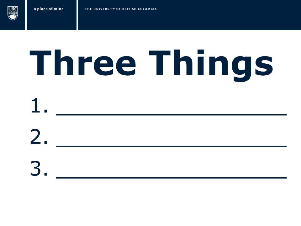 Three Things 1. __________________ 2. __________________ 3. __________________