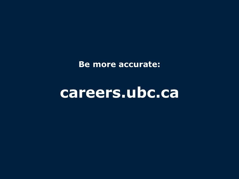 careers.ubc.ca Be more accurate: