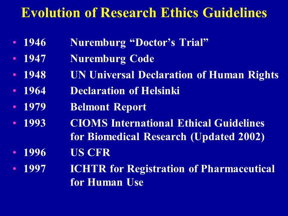 Evolution of Research Ethics Guidelines 1946Nuremburg Doctor's Trial 1947Nuremburg Code 1948 UN Universal Declaration of Human Rights 1964Declaration of Helsinki 1979Belmont Report 1993CIOMS International Ethical Guidelines for Biomedical Research (Updated 2002) 1996US CFR 1997ICHTR for Registration of Pharmaceutical for Human Use