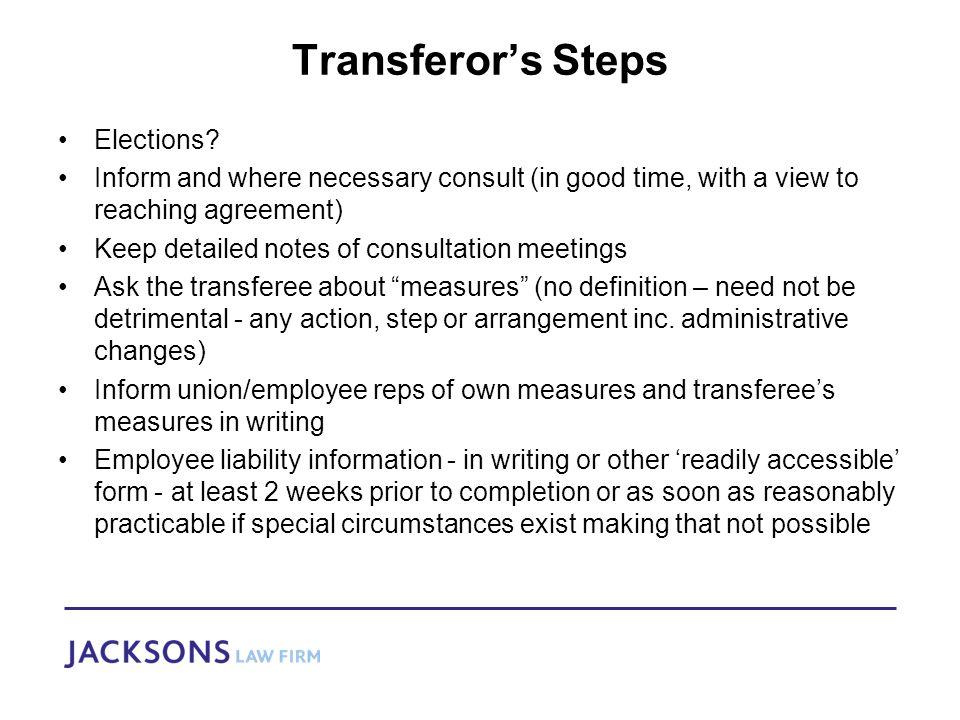 Transferor's Steps Elections.