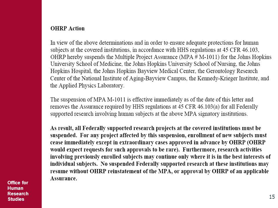 Office for Human Research Studies 15