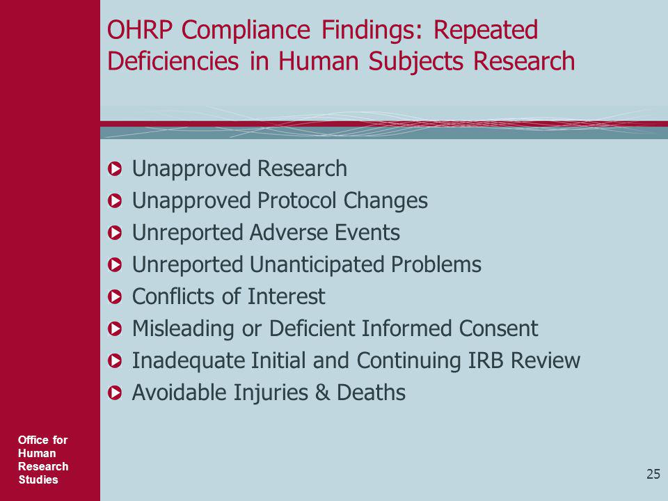 Office for Human Research Studies OHRP Compliance Findings: Repeated Deficiencies in Human Subjects Research Unapproved Research Unapproved Protocol C
