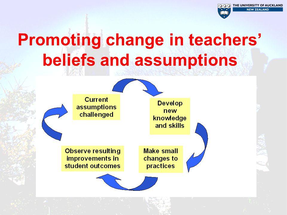 Promoting change in teachers' beliefs and assumptions