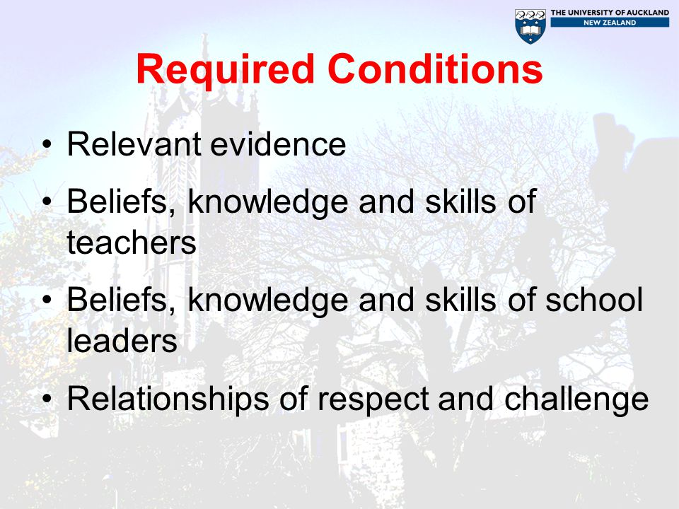 Required Conditions Relevant evidence Beliefs, knowledge and skills of teachers Beliefs, knowledge and skills of school leaders Relationships of respect and challenge