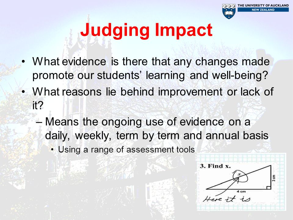 Judging Impact What evidence is there that any changes made promote our students' learning and well-being.