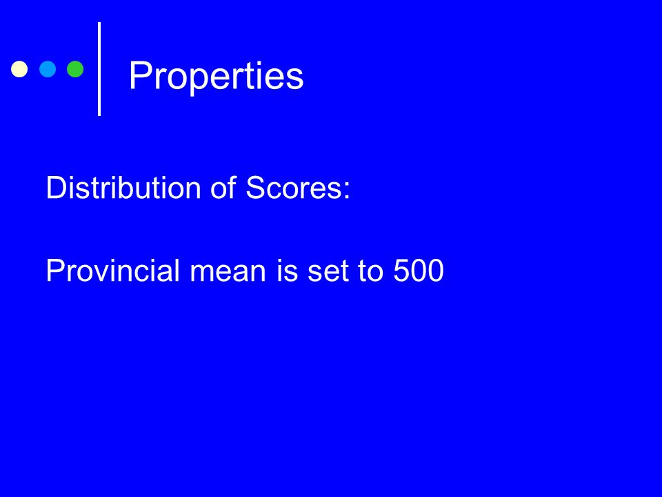 Properties Distribution of Scores: Provincial mean is set to 500